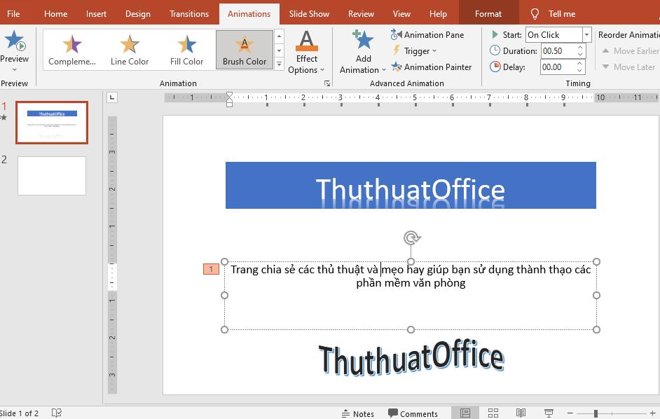 Cách làm chữ chạy liên tục trong Powerpoint 2010 00
