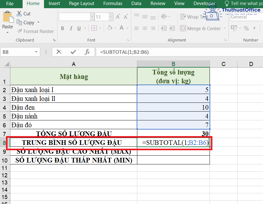 SUBTOTAL trong Excel